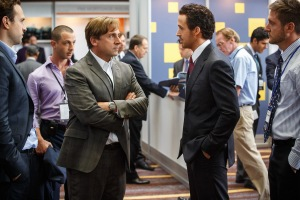 Left to right: Steve Carell plays Mark Baum and Ryan Gosling plays Jared Vennett in The Big Short from Paramount Pictures and Regency Enterprises
